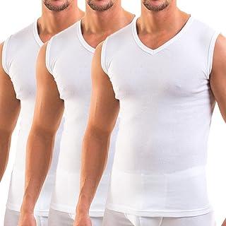 HERMKO 3050- confezione di 3 magliette senza maniche da uomo con scollo a V, attillate (vari colori)
