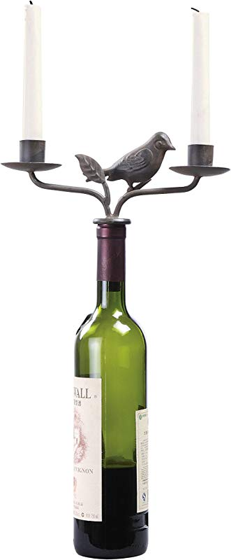 Creative Co Op Bird Wine Stopper With Two Taper Holders Rust Metal