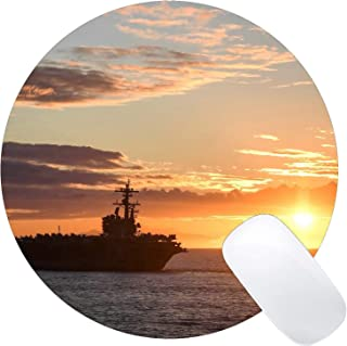 Round Mouse Pad with Stitched Edge,USS George H.W. Bush Warship Sunset King Size Computer PC Round Mouse Mat