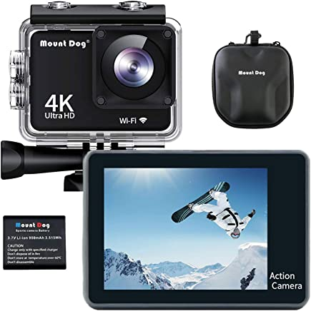 "MOUNTDOG Action Camera 4K/16MP Underwater Waterproof 30M Camera with 2"" LCD Wide Angle View, 1080P Full HD Sport Camcorder with 10M WiFi Wireless Control and Portable Camera Bag"