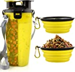 MATT SAGA Portable Dog Water Bottle and Food Container for Travel 2-in-1 Dual Chamber Bottle with 2 Collapsible Bowls Dogs Cats Feeder Water Food Bottle Outdoor Travel (Yellow)