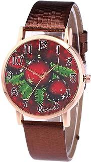 JZDH Orologi da Donna Moda Christmass Orologi da Donna Numero Arabo Cinturino in Pelle Cinturino al Quarzo Orologio Orolog...