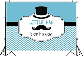 Funnytree 7X5ft Blue Little Man Mustache Party Backdrop Gentleman Boy Baby Shower Decorations Striped Baptism Background for Photography Photo Booth Banner
