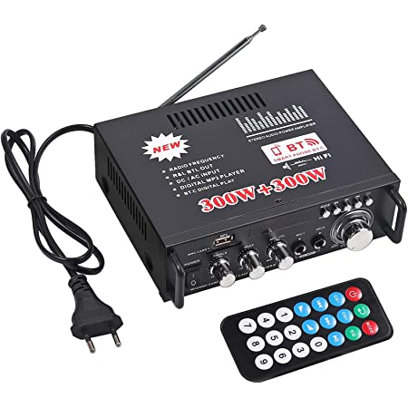 Amplificador Estéreo HiFi Bluetooth PROZOR Amplificador Bluetooth Audio 300W + 300W Mini Estéreo Hi-Fi Amp Receptor de Audio Inalámbrico para el Hogar del Automóvil Música SD USB FM