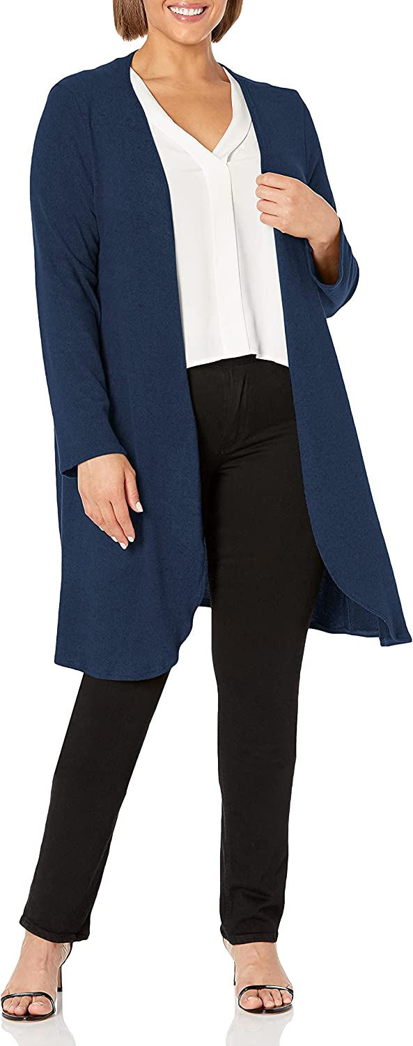 Star Vixen Women's Plus Size Long Sleeve Open Front Casual Cardigan Duster Length in Light Weight Sweater Knit