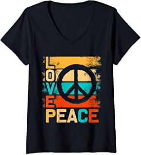 Womens Love Peace Freedom T Shirt Gifts Retro 60s 70s Tie Hippie V-Neck T-Shirt