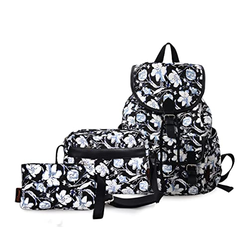 c11654c3b0d DGY Black Canvas Floral Printed Backpack 3 Pieces School Rucksack for Teen  Girls 3Pcs