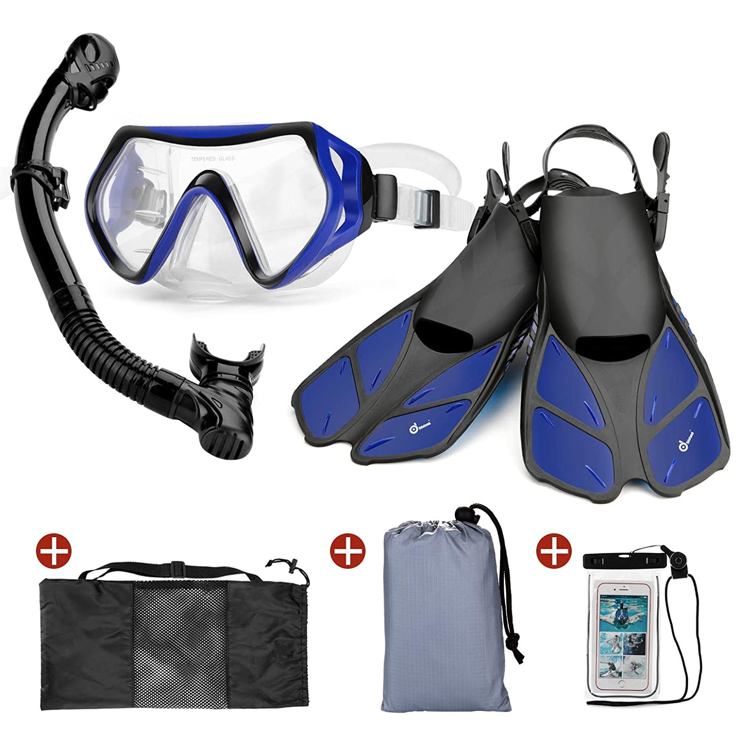 Odoland Snorkel Set 6-in-1 Snorkeling Packages, Diving Mask with Splash Guard Snorkel and Adjustable Swim Fins and Lightweight Mesh Bag and Waterproof Case and Beach Blanket