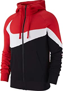 Mens HBR Large Swoosh Full Zip Hoodie Sweatshirt University Red/White/Black BQ6458-657 Size X-Large