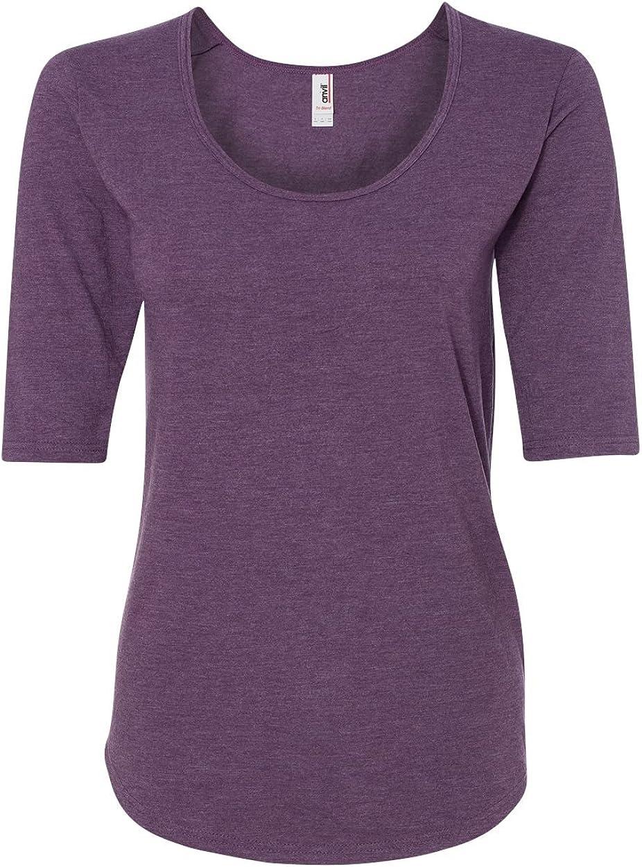 Anvil 6756L Ladies' Triblend Deep Scoop Half-Sleeve T-Shirt Cotton Blend