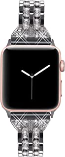 VIQIV Bling Bands for Compatible Apple Watch Band 38mm 40mm 42mm 44mm iWatch Series 5 4 3 2 1, Womens Elegant Slim Crystal...