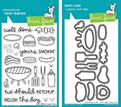Lawn Fawn Let's BBQ Clear Stamp and Die Set – Includes One Each of LF889..