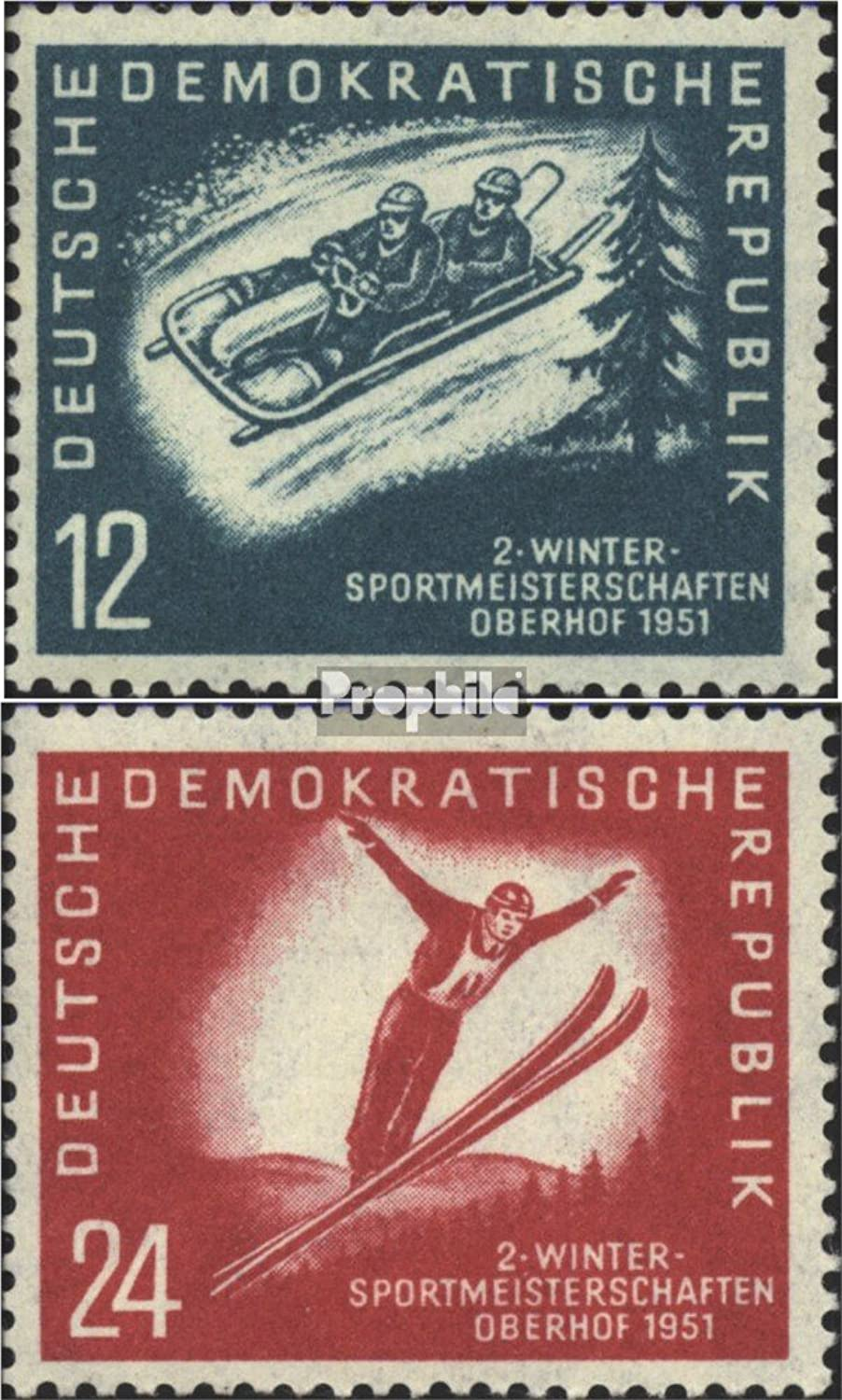 DDR 280-281 (Complete.Issue.) Bedarfsstempel 1951 Winter Sports Championships The DDR (Stamps for Collectors) Winter Sports