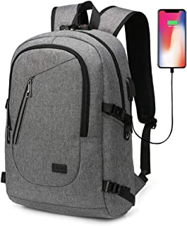 AUGUR Laptop Backpack, Travel Computer Bag Anti Theft Water Resistant College School Bookbag for Women & Men, Slim Business Backpack with USB Charging Port Fits 15.6 Inch Laptop & Notebook (Grey)