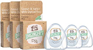 Dr. Ginger's All Natural Coconut Oil & White Charcoal Dental Floss   Powerful Combination of Organic Coconut Oil, Xylitol & Deep Cleaning Flat Floss   Great Taste, No Harmful Chemicals   3 Pack