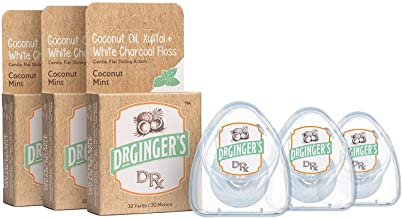 Dr. Ginger's White Charcoal, Coconut Oil, Xylitol Flat Dental Floss (32 Yards, 3 Count) - Coconut Mint Flavor