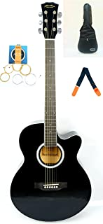 Mike Music 40 inch Acoustic Guitar with Bag and Strap and Extra Strings (Black Glosssy)