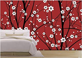 wall26 - Vector - Cherry Tree Seamless Pattern - Removable Wall Mural | Self-Adhesive Large Wallpaper - 100x144 inches