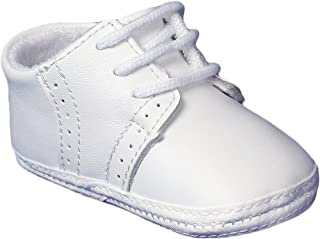 Little Things Mean A Lot Baby Boys All White Genuine Leather Saddle Oxford Crib Shoe with Perforations