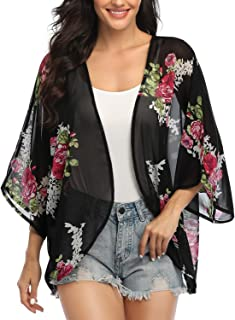 Women's 3/4 Sleeve Floral Kimono Cardigan, Sheer Loose Shawl Capes, Chiffon Beach Cover-Up, Casual Blouse Tops