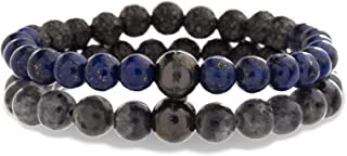 Gunmetal Stainless Steel Hammered Grey and Blue Stone Beaded Stretch Bracelet Set for Men