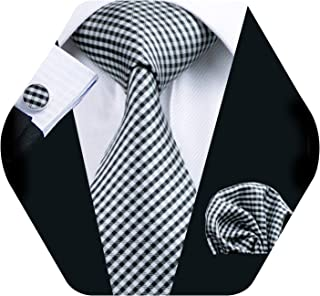 Barry.Wang Mens Plaid Check Silk Necktie Set Formal Tie Pocket Square Cufflinks Set