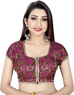Ocean Fashion Women's Brocade and Georgette Round Neck Fully Stitched Saree Blouse