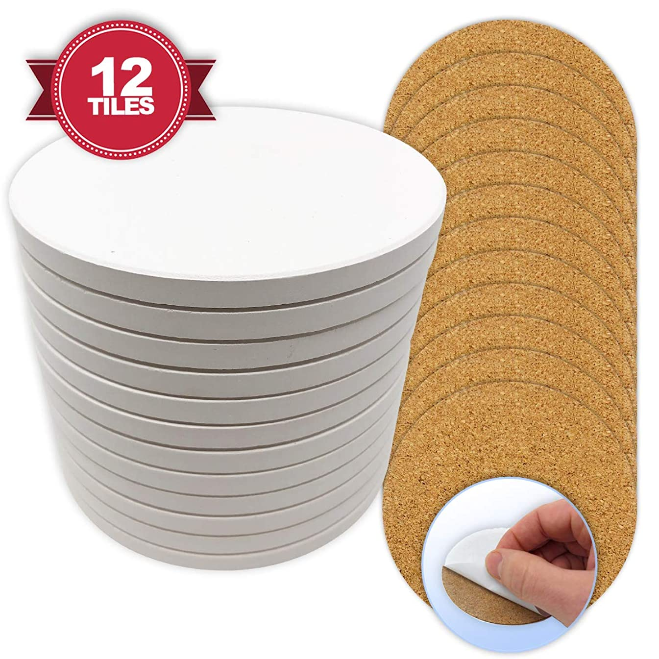 Ceramic Tiles for Crafts Coasters,12 Ceramic White Tiles 4-Inch with Cork Backing Pads, Use with Alcohol Ink or Acrylic Pouring, DIY Make Your Own Coasters, Mosaics, Painting Projects, Decoupage