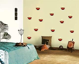 HandmadeJewel Multicolor PVC Decorative Diya Wall Sticker Art Decal Online Home Décor India