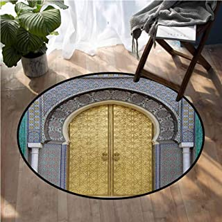 Moroccan Carpet Antique Doors Morocco Gold Doorknob Ornamental Carved Intricate Artistic Non-Slip Bath Hotel Mats D48 Inch