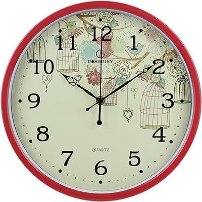 YYL Creative Living Room Wall Clock,Fashion Pastoral Quiet Bedroom Clock-E 12inch