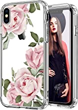 ICEDIO iPhone Xs Max Case with Screen Protector,Clear with Blooming Pink Floral Flower Patterns for Girls Women,Shockproof...