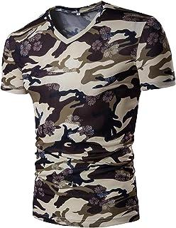 Tootlessly-Men Camo Plus Size V Neck Short Sleeve Basic Tunic T-Shirt