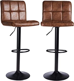 Taburetes de Bar para cocinas, Juego de 2 taburetes de Bar, sillas de Bar, taburetes de Desayuno, taburetes de Bar, Altura Ajustable, de 57 a 107 cm, Chocalate,