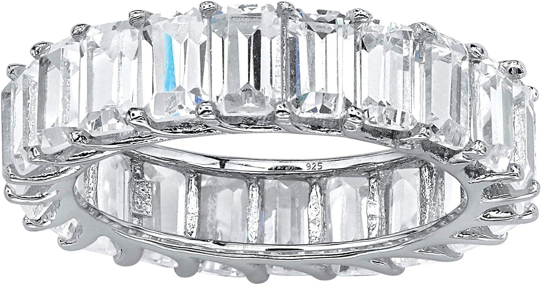 Platinum over Sterling Silver Max 54% OFF Emerald Classic Eternit Zirconia Cubic Cut