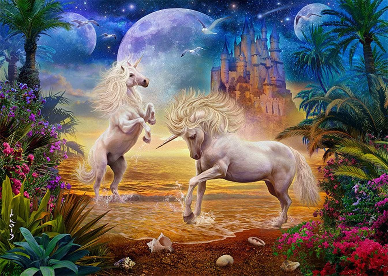 DIY Oil Painting Paint by Number for Adults Kids Beginner, Komking Paint by Number Kit with Brush Canvas - Unicorn Seaside 16x20inch Frameless