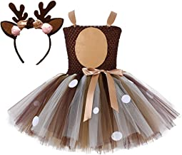 Tutu Dreams Girls 1-12Y Deer Costume Outfits Brown Tulle Dress with Handband Birthday Party
