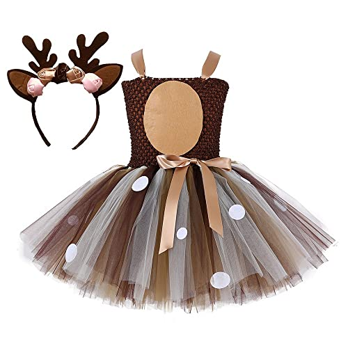3ce17de1d9 Tutu Dreams Girls 2-12Y Deer Costume Outfits Brown Tulle Dress with  Handband Birthday Party
