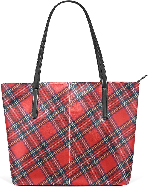 COOSUN Royal Stewart Tartan PU Leder Leder Leder Schultertasche Handtasche und Handtaschen Tote Bag für Frauen B0784LQTK4 70772e