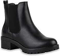 Stiefelparadies Damen Stiefeletten Chelsea Boots mit Blockabsatz Profilsohle Plateau Vorne Flandell