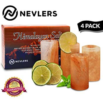 """Nevlers All Natural Handcrafted Pink Himalayan Salt Shot Glasses - Great for Tequila Shots - Set of 4 Pieces - 3"""" Tall Shot Glasses - 100% Himalayan Salt"""