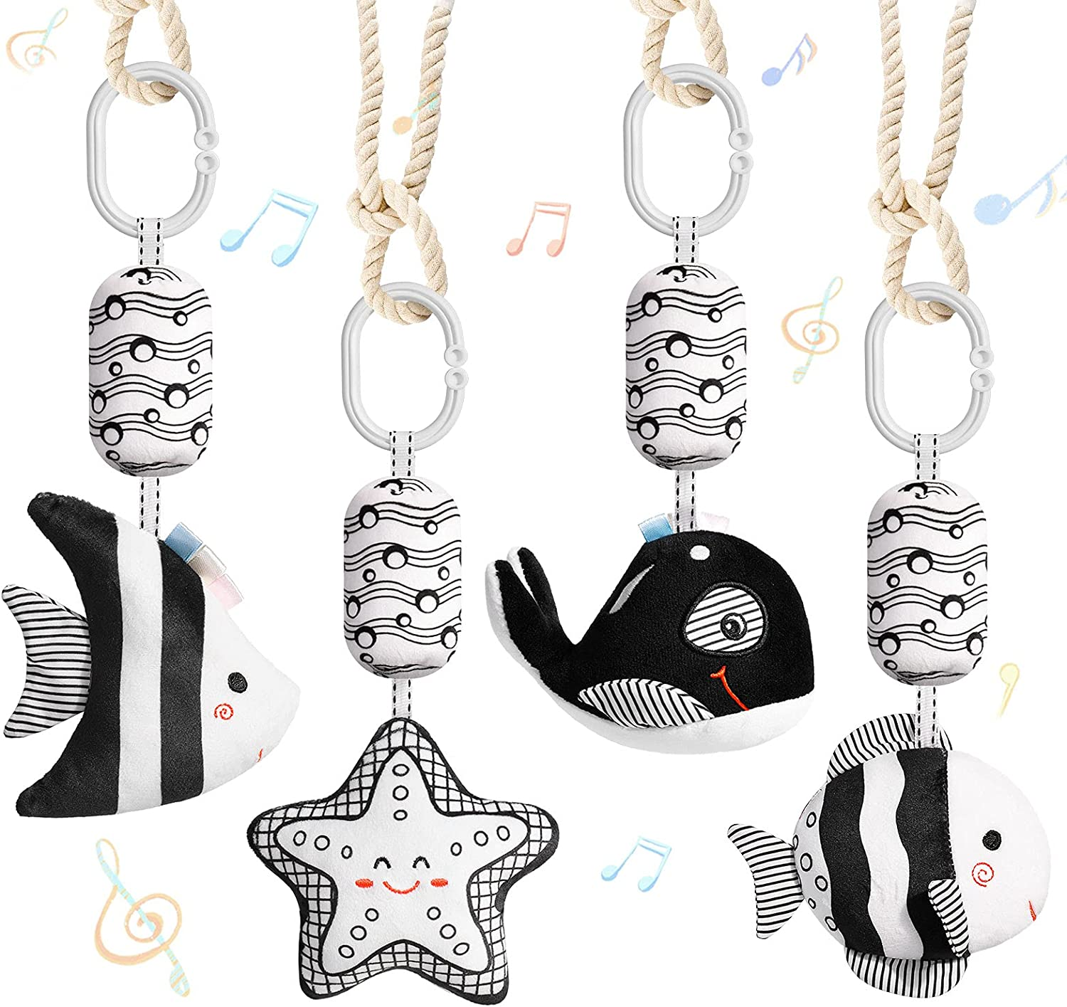 byesuro Baby Hanging Toys Stuffed Animal Bell Infant Stroller Rattle Toys - Crinkle Squeaky Cribs Car Seat New Born Toy with Wind Chimes Plush Toy Black and White Cute 0 3 6 9 to 12 Months