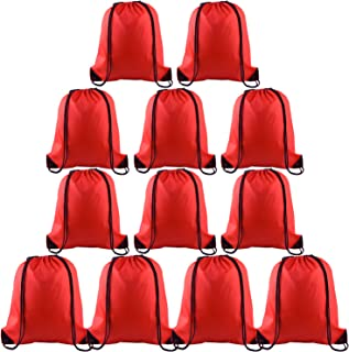 12 Pcs Drawstring Backpack Bags Sport Gym Sack Cinch Bags Bulk for School Traveling and Storage (Red)