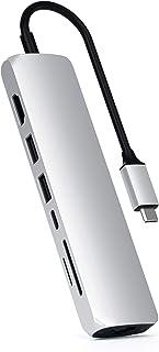 SATECHI Adattatore Multiporta Slim Tipo C con Ethernet - 4K HDMI, Gigabit Ethernet, Ricarica PD USB-C - Compatibile con Ma...