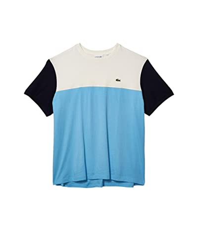 Lacoste Short Sleeve Striped Color-Block T-Shirt (Barbeau Blue/Flour/Navy Blue) Men