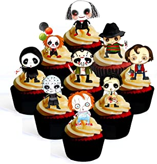 Halloween Horror Characters Theme Edible Cupcake Toppers - Stand Up Wafer Cake Decorations (Pack of 24)