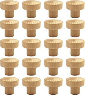 WEICHUAN 20PCS Round Unfinished Wood Cabinet Furniture Drawer Knobs Pulls Handles (Diameter: 3.6cm Height: 3cm)