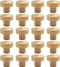 WEICHUAN 20PCS Round Unfinished Wood Cabinet Furniture Drawer Knobs Pulls Handles (Diameter: 3.6cm Height: 3cm)