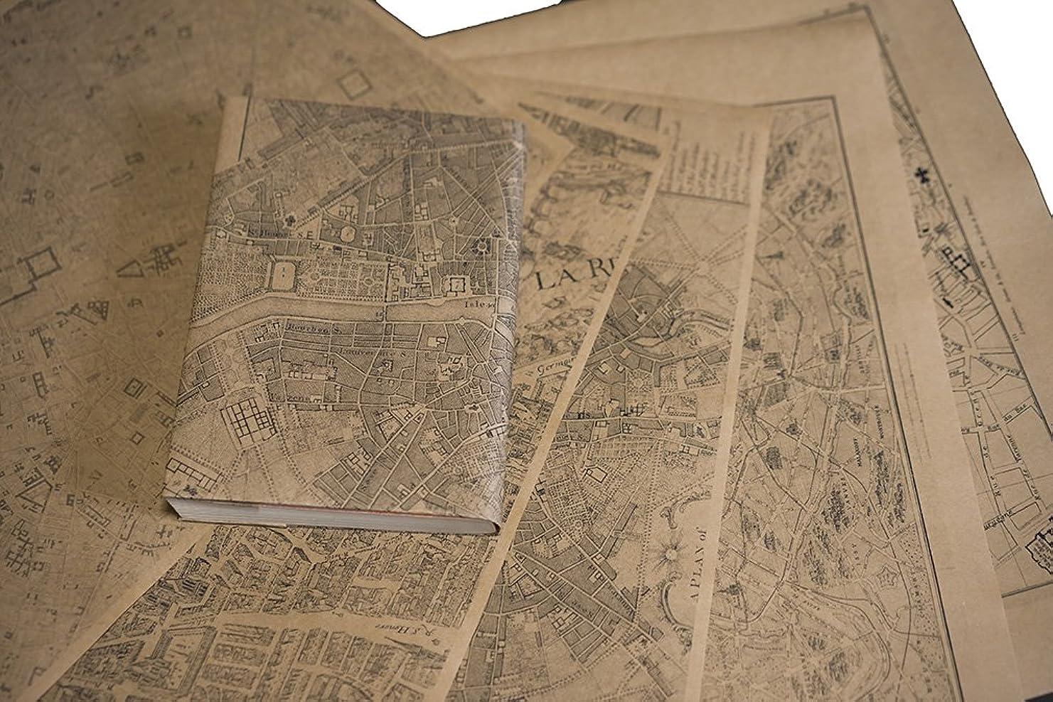 会話ペンダントめまいが紙製ブックカバー パリ古地図 (クラフト紙)