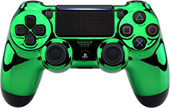 eXtremeRate Chrome Green Edition Faceplate Cover, Front Housing Shell Case Replacement Kit for Playstation 4 PS4 Slim PS4 Pro Controller (CUH-ZCT2 JDM-040 JDM-050 JDM-055)